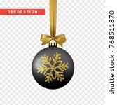 xmas balls black and gold color.... | Shutterstock .eps vector #768511870