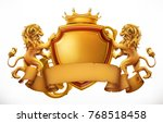 crown  lions and shield. 3d... | Shutterstock .eps vector #768518458
