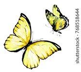 yellow butterfly  watercolor ... | Shutterstock . vector #768518644