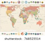 vintage world map and round... | Shutterstock .eps vector #768525514