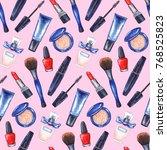 watercolor women's mascara ... | Shutterstock . vector #768525823