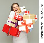 happy woman holding gifts.... | Shutterstock . vector #768528070