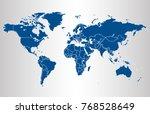 blue world map vector | Shutterstock .eps vector #768528649
