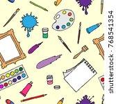 seamless pattern hand drawn... | Shutterstock .eps vector #768541354