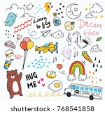 cute random doodle background | Shutterstock .eps vector #768541858