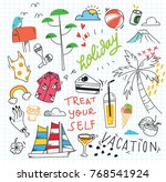 cute random doodle background | Shutterstock .eps vector #768541924
