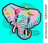 vector psychedelic elephant.... | Shutterstock .eps vector #768552469