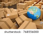 boxes on conveyor roller. 3d... | Shutterstock . vector #768556000