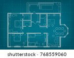 vector architectural blueprint... | Shutterstock .eps vector #768559060