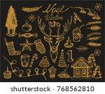 vector set of gold christmas... | Shutterstock .eps vector #768562810