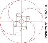 fibonacci spiral. golden ratio   Shutterstock .eps vector #768566848