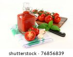 a bottle of tomato ketchup with ... | Shutterstock . vector #76856839