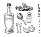 tequila bottle  salt shaker and ... | Shutterstock .eps vector #768570970