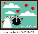 vector illustrations bride and... | Shutterstock .eps vector #768578794