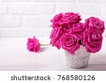 postcard with  bright pink...   Shutterstock . vector #768580126