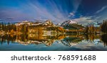 panorama of a mountain lake in...   Shutterstock . vector #768591688