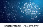 neon brain connections on blue... | Shutterstock . vector #768596599