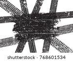 grunge tire track background... | Shutterstock .eps vector #768601534