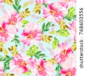 modern pink floral pattern on... | Shutterstock . vector #768603556