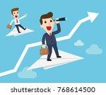 businessman with binoculars and ...   Shutterstock .eps vector #768614500