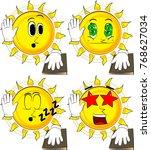 cartoon sun raising his hand... | Shutterstock .eps vector #768627034