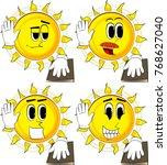 cartoon sun raising his hand... | Shutterstock .eps vector #768627040