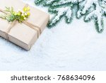 christmas background with gift  ...   Shutterstock . vector #768634096