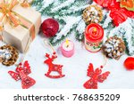 christmas background with gift  ...   Shutterstock . vector #768635209
