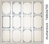 set of vintage frames with... | Shutterstock .eps vector #768636700