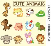 Stock vector twelve cute animals 768644764