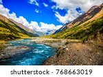 mountains river stream valley... | Shutterstock . vector #768663019