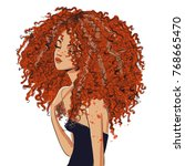 portrait of cute curly girl | Shutterstock .eps vector #768665470