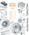 breakfasts and brunches top... | Shutterstock .eps vector #768667564