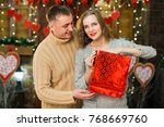 couple in love celebrate... | Shutterstock . vector #768669760