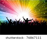 silhouette of a party crowd on... | Shutterstock .eps vector #76867111