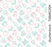 baby care seamless pattern with ... | Shutterstock .eps vector #768681304