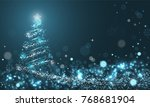 glowing christmas tree with... | Shutterstock .eps vector #768681904