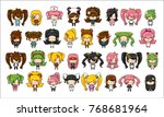 a set of cute girls... | Shutterstock .eps vector #768681964