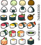 collection of various japanese... | Shutterstock .eps vector #768682030