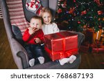 happy cute children posing near ... | Shutterstock . vector #768687193