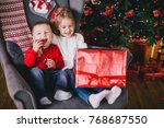 happy cute children posing near ... | Shutterstock . vector #768687550