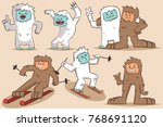 Stock vector yeti and bigfoot vector cartoon character monsters set isolated on background 768691120