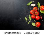 branch ripe raw tomatoes ... | Shutterstock . vector #768694180