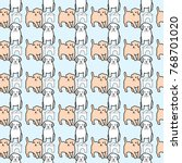 cute seamless pattern with... | Shutterstock .eps vector #768701020
