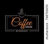 coffee cup badge design logo ... | Shutterstock .eps vector #768703654