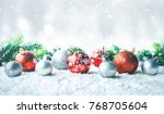 christmas ball  ornament  on... | Shutterstock . vector #768705604