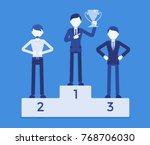 pedestal of honor and happy men....   Shutterstock .eps vector #768706030