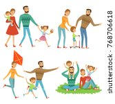 happy family walking in park.... | Shutterstock .eps vector #768706618