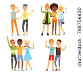 illustrations of best friends.... | Shutterstock .eps vector #768706630