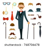 fashioned retro gentleman with... | Shutterstock .eps vector #768706678